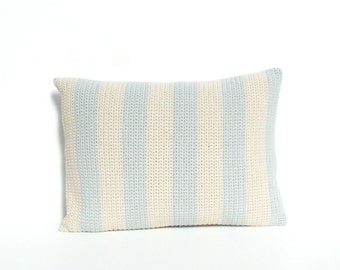 Stripy grey and beige crochet cushion/pillow