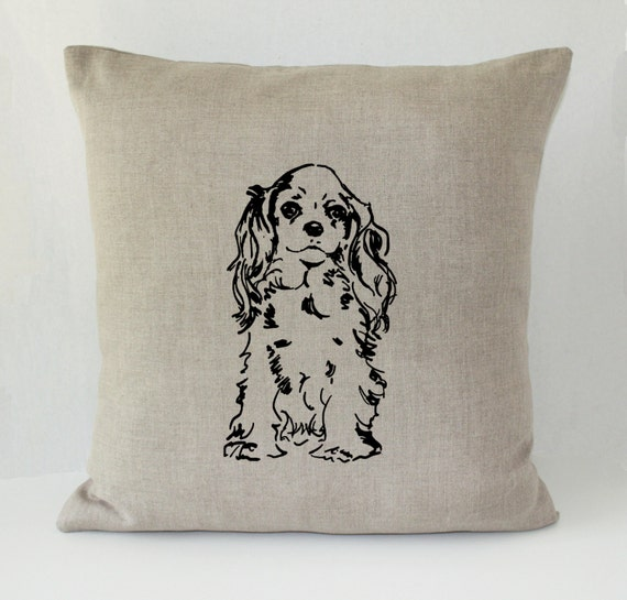 Decorative Pillows Dog : Sweet Spaniel Dog Decorative Throw Pillow Cover Irish Linen