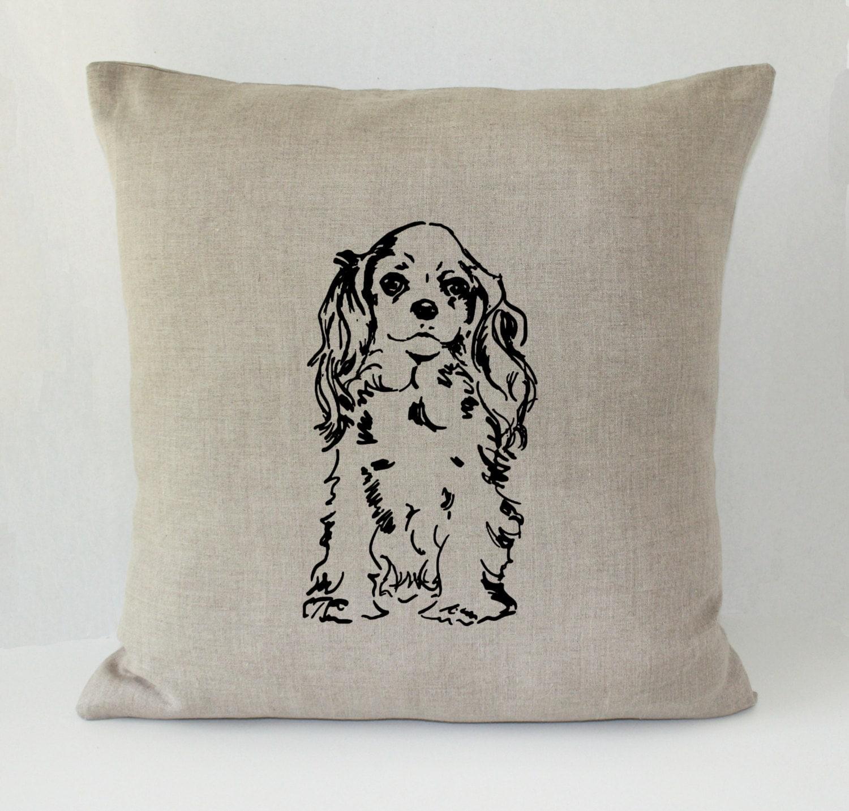 Decorative Dog Throw Pillows : Sweet Spaniel Dog Decorative Throw Pillow Cover Irish Linen
