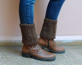 Brown Boot Cuffs Boot Toppers Knit Leg Warmers Ankle Warmers Boot Socks Winter Accessories Gift under 25