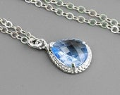 Light Blue Necklace - Blue Bridesmaid Necklace - Silver and Blue Glass Pendant Necklace - Wedding Jewelry - Sterling Silver Chain