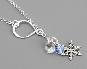 Silver Snowflake Necklace - Swarovski Crystal and Sterling Silver Lariat Necklace - Winter Wedding Jewelry