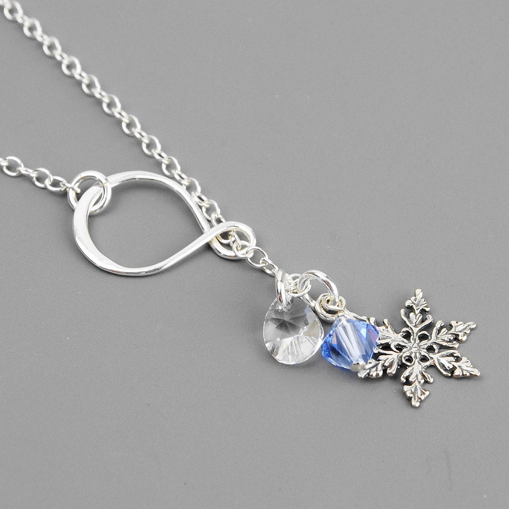 silver snowflake necklace swarovski and sterling