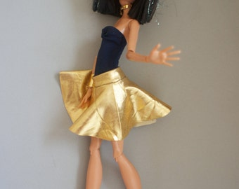 Monster High clothes golden circle skirt and dark blue swimsuit