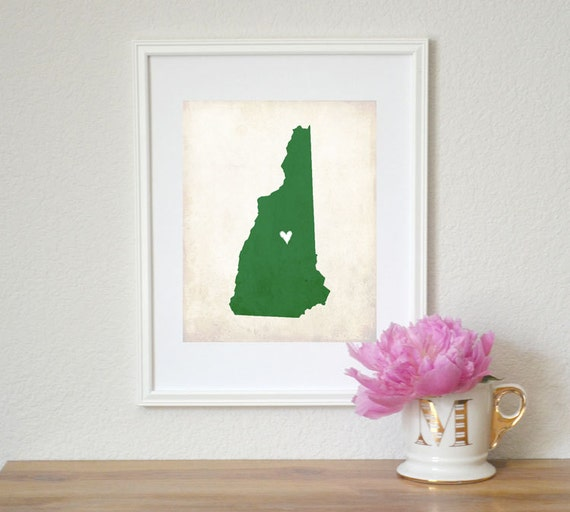 New Hampshire Rustic State Map. Personalized New Hampshire Map. Wedding Gift. Engagement Gift. Honeymoon Gift. Art Print 8x10.