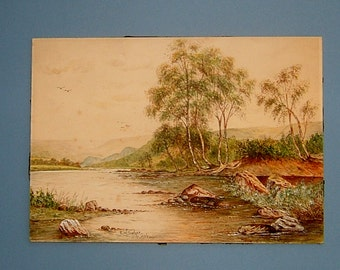 Painting of an English Countryside River Signed E W Tucker 1936 Vintage Art 1930s Watercolor