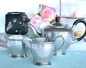 Lovely vintage pewter tea pot, creamer and sugar bowl: Hall Bros, Sheffield hand beaten teapot with matching sugar basin and cream jug