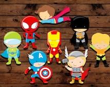 Superhero cupcake toppers, Superhero party, Superhero decorations, boy birthday theme