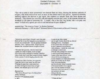 Felix Gonzalez-Torres Press Release Untitled (Vultures) 1995 T-Shirt - Black or Blue text