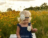 Navy Blue & Ivory Petti Lace Romper with Headband Set - Satin Rosette - Flower Girl Newborn Baby Infant Toddler - Lace Ruffles Classic Chic
