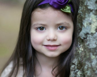 Purple Satin Rosette Baby Headband - Newborn Baby Infant Girls Flower Girl - Photo Prop - Royal Purple