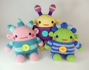 Romper Monsters, Amigurumi Crochet Doll Pattern