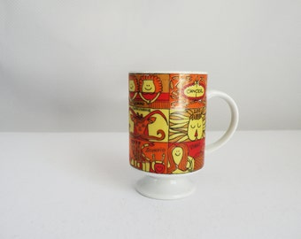Orange Red Yellow Vintage Porcelain Horoscope Coffee Mug