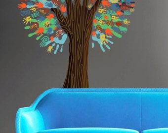 Colorful Hand Tree Color Tree Nature - Full Color Wall Decal Vinyl Decor Art Sticker Removable Mural Modern B216