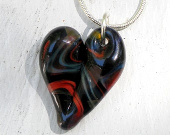 Glass Heart Necklace, Blown Glass Jewelry, Lampwork SRA Sparkling Dark Twisted Mix