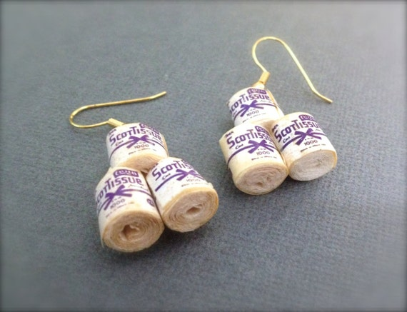 toilet paper roll earrings dangle earrings