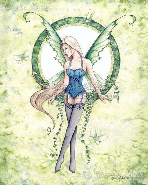 Fairy Art Ivy Spring Female Fantasy Print Butterfly Painting Faerie Artwork- Sarah Alden