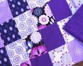 """Purple Passion Flannel Lap-Sized Quillow Blanket - 42"""" x 70"""" - The quilt that folds into a pillow"""