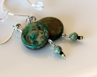 Rainforest jasper and sterling silver dangle earrings, large green stone beaded earrings, handmade jewelry by girlthree