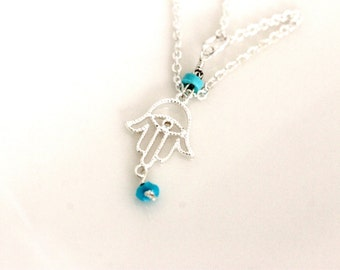 sterling silver hamsa hand necklace, sleeping beauty turquoise, evil eye, good luck charm, popular, trendy, handmade jewelry by girlthree