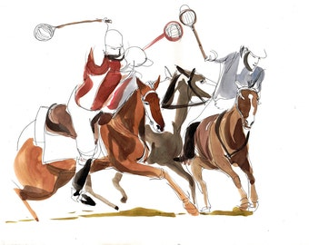 Polocrosse Game Horse - Watercolor on Paper