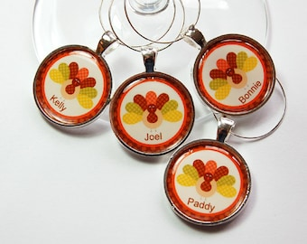 Thanksgiving Wine Charms, Personalized wine charms, Wine Glass Charms, Wine Charms, custom charm, turkey wine charms, turkey (3241)