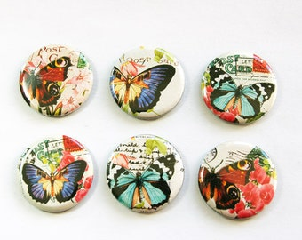 Butterfly Magnets, Nature Magnets, button magnets, Butterflies, Fridge Magnets, Kitchen Magnets, magnet set, stocking stuffer (3267)