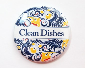 Dishwasher magnet, The dishes are clean, kitchen magnet, Clean Dishes, clean dishes magnet, Magnet, Blue, Yellow, Floral (3680)