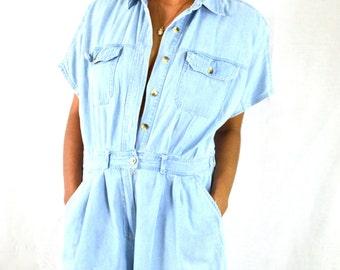 Faded Blue Denim Vintage Shorts Set
