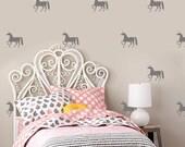 Unicorn Stickers, Girls Room Decor, Vinyl Wall Decals , Kit Of 40 Unicorns, Kids Room Stickers, Silhouette Unicorn Sticker - ID675 [p]