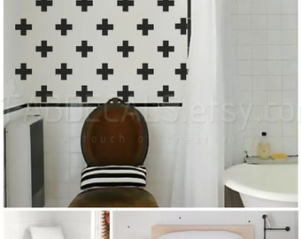 Plus Sign Vinyl Wall Decal, Set Of 45 Decals, Pattern Vinyl Sticker, Home Decoration - ID669