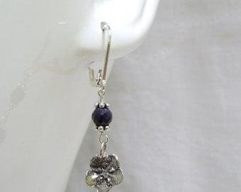 Sapphire Dangle Earrings: Sterling Silver Forget Me Nots- September Birthstone
