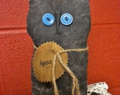 Primitive Black Cat with Vintage Button Eyes