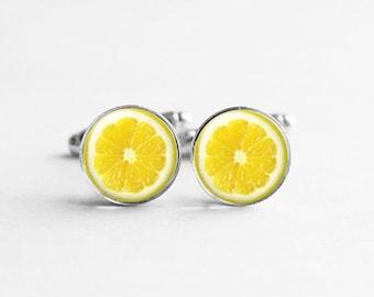 Lemon Cufflinks, Food Cufflinks, Fruit Cufflinks, Fun Cufflinks, Hipster Gift, Silver Cuff Links, Gifts For Men, Kitsch Jewelry, C050