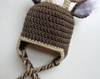 Newborn Crochet White Tail Deer Crochet Hat: Newborn Photo Prop, Baby Boy baby girl
