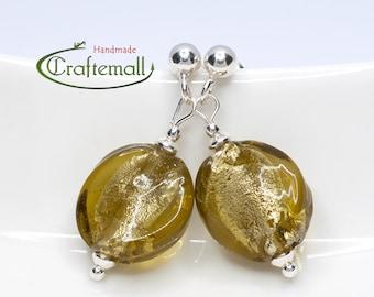 Clearance: Olive green earrings with sterling silver - Venetian Glass earrings