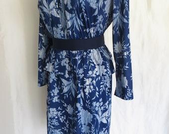 """Vintage womens 60s suit dress summer royal cobalt sapphire blue floral long sleeve two piece dress size XL 18 1/2"""""""