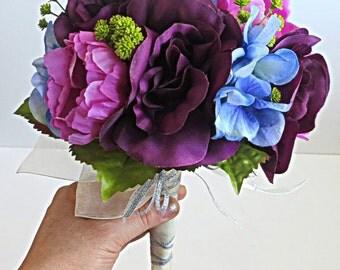 Silk Bridal Bouquet - Faux Bouquet - Artificial Bouquet -  Purple, Lavender, Blue and LIme Green Bouquet -