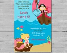 Pirate and Mermaid Girl Birthday Invitation - Mermaid and Pirate Birthday - Mermaid Birthday - Pirate Birthday - Printable Pirate Invitation