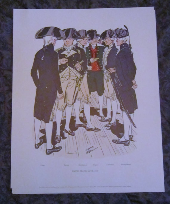 US Navy Uniforms 1966 Department of Naval History Color Prints 1776 ...