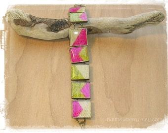 Pink and Green Chevron Fabric Bracelet - Chevron Jewelry - Chevron Bracelet