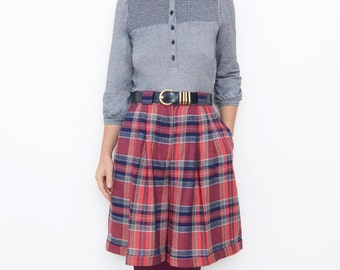 Vintage red plaid tartan women high waist skirt pants check