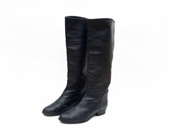 Vintage KENZO Paris black leather women high top riding boots