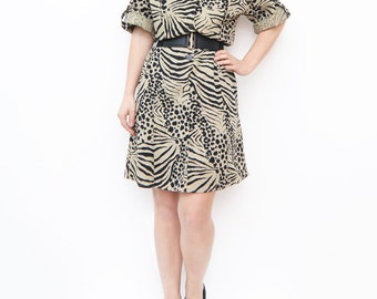 Vintage safari zebra print summer dress / animal print