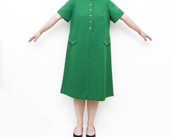 Vintage 60s green mod dress / short sleeves L golden buttons / plus size