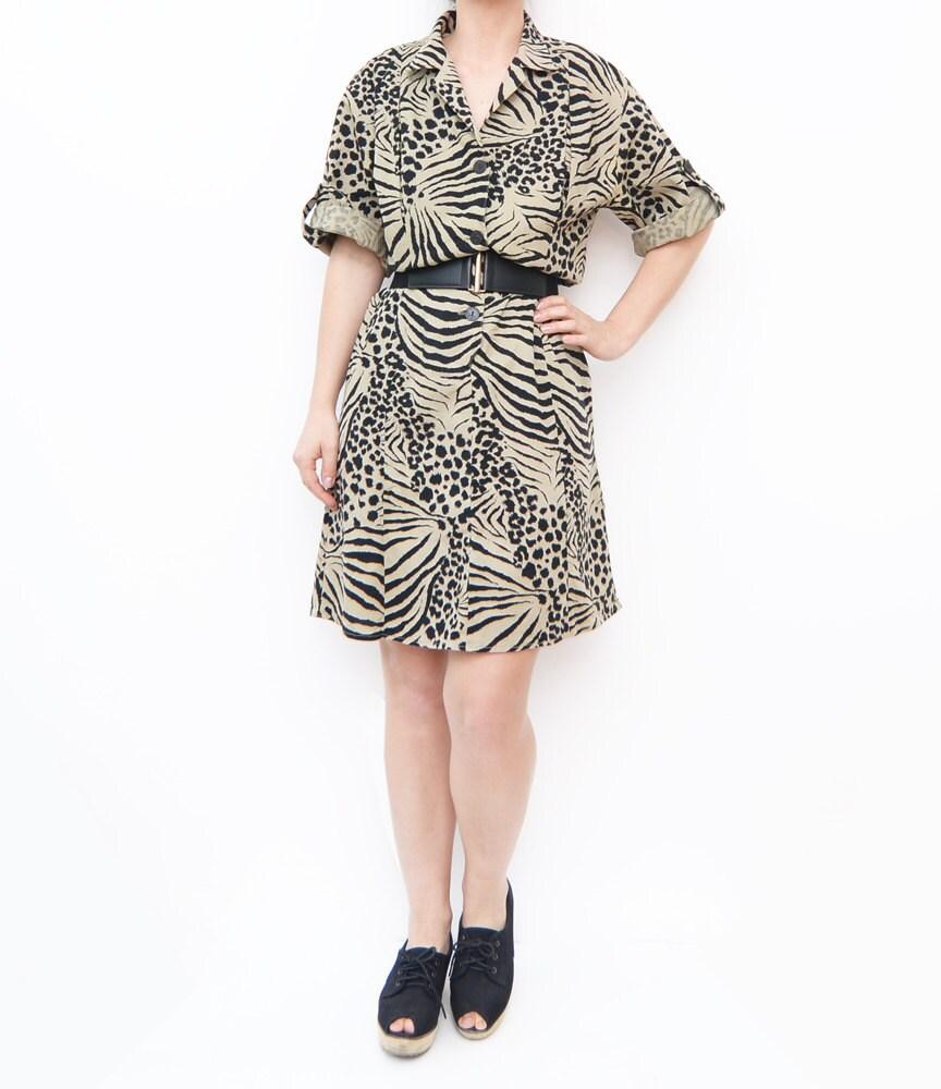 Vintage safari zebra print summer dress / animal print