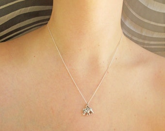 Tiny Sterling Silver Elephant Necklace, Little Dainty elephant Charm on Sterling Silver Fine Chain Sterling silver Necklace elephant jewelry