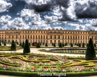 Paris, HDR style photo, Versailles palace in Paris, decoration art photo print, panorama made of 3 photography prints