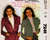 """Vintage 1980 Misses Unlined Jacket in Two Lengths Sewing Pattern, McCall's 7241, Size Medium Bust 36"""" - 38"""" (92 - 97cm), Free US Shipping"""