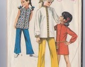 Vintage 1968 Simplicity Pattern 8022 girls dress Nehru top bell bottom pants